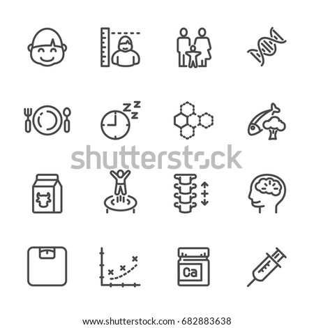 Genetic, nutrition, exercise, lifestyle factors affecting kid's height and bone growth. Vector line icons.