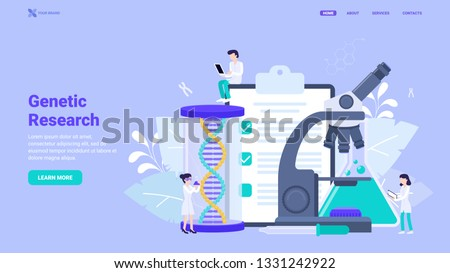 Genetic research, gene engineering, DNA tests and analysis concept. Innovative dna research tools. Flat vector illustration for web design, banner, hero image. Landing page design concept.
