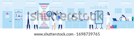 Genetic research laboratory. Professional lab with scientists, genome and biological researches vector illustration. Laboratory research and medicine biotechnology