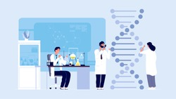 Genetic science. DNA molecule laboratory research, gene structure information. Biological or behaviour experiments, medicine microbiology vector concept