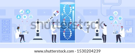 Genetic science flat vector illustration. Male and female scientists doing human genome research cartoon characters. Biotechnology, medicine innovation concept. DNA helix testing. Bioengineering