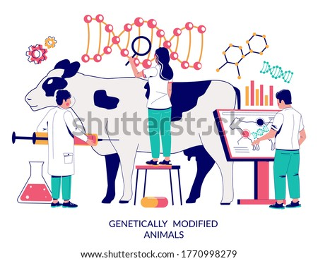 Genetically modified animals, vector flat illustration. Cow dna research, cattle dna testing, genetic modification, dairy cattle genetics concept for web banner, website page etc.