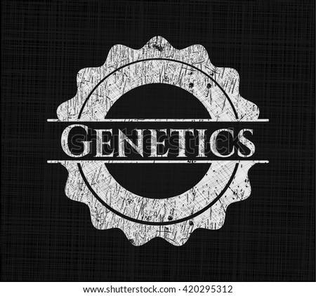 Genetics chalkboard emblem written on a blackboard