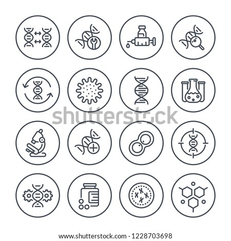 genetics line icons, dna chain, gene editing and genetic research, vector