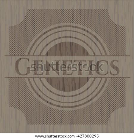 Genetics retro style wooden emblem