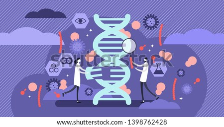 Genetics vector illustration. Flat tiny DNA biology structure research persons concept. Microbiology technology and scientific genome experiment. Clone life symbol and organic spiral chain code model.