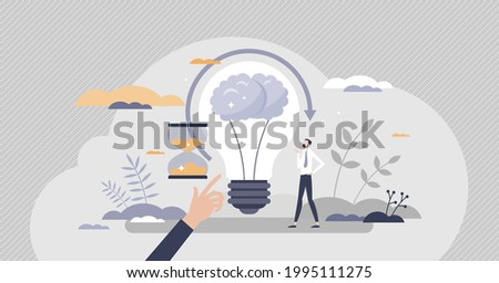 Genius hour as creative inspirational project time tiny persons concept. Your own passion innovative exploration or idea development with empowerment from teacher or company leader vector illustration