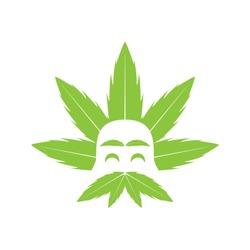 Genius Science Cannabis logo mascot illustration icon vector