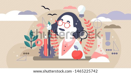 Genius vector illustration. Flat tiny smart scientific persons mind concept. Abstract formulas development and imagination. Wisdom thinking and engineering process. Physics brainstorm and research