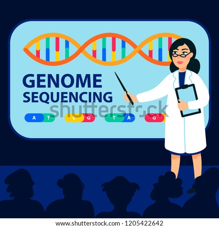 Genome sequencing concept. Female scientist makes a report at a genome sequencing conference Molecule helix of dna, genome or gene structure. Human genome project. Flat style vector illustration.