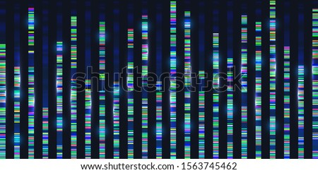 Genomic sequences visualization graph. Medicine DNA test analyse, genom map architecture. Genetic chromosome barcoding. Deoxyribonucleic acid. Big data background template, technology illustration