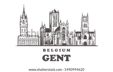 Gent sketch skyline. Gent, Belgium hand drawn vector illustration. Isolated on white background.