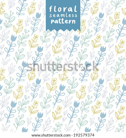 Gentle field flowers seamless pattern