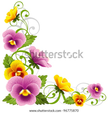 Gentle floral design element with pansy