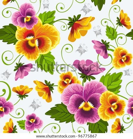 Gentle floral seamless background with pansy. Drawn without gradients.