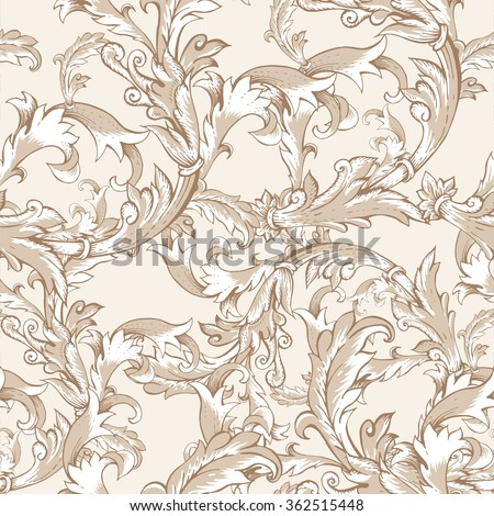 Gentle Flower Vintage Vector Baroque Seamless Pattern With Swirls Natural Wallpaper Floral Curl