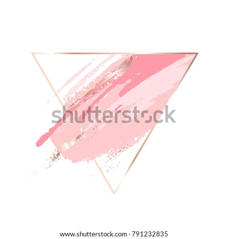 Gentle pastel colors brush strokes in gold triangular frame. Abstract composition.