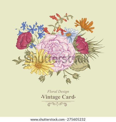 Gentle Retro Summer Floral Greeting Card, Vintage Bouquet, Vector illustration. Roses. Poppies. Bluebells. Peony. Lily on Beige Background