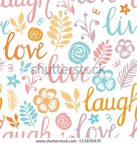 Gentle spring feminine colors lettering theme vector seamless pattern for gift paper, fabric prints and phone cases decorated with leaves and flowers.