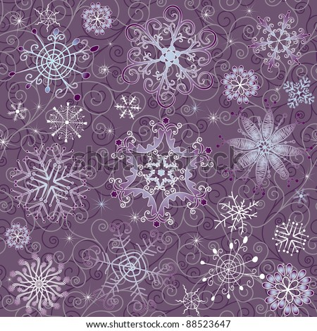 Gentle violet seamless Christmas pattern with varied snowflakes and curls (vector) - stock vector