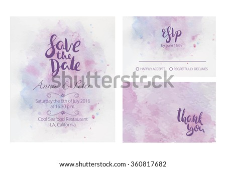 Gentle wedding set with hand lettering and beautiful watercolor background. Includes save the date, rsvp and thank you cards templates.