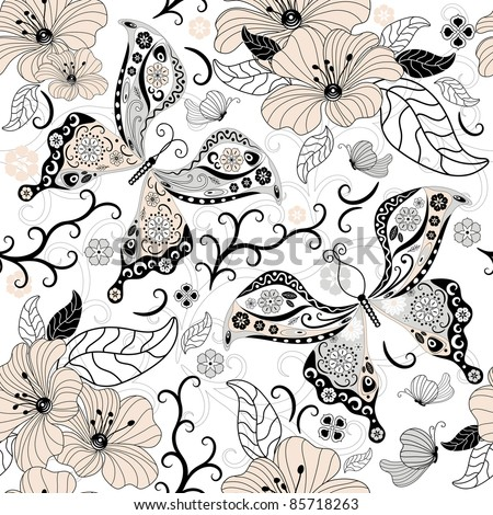 Gentle  white seamless floral pattern with pastel flowers and butterflies (vector)