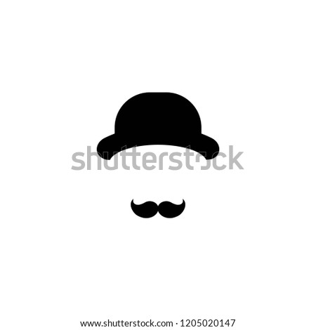 Gentleman icon isolated on white background. Silhouette of man's head with moustache and bowler hat. Black simple avatar.  Isolated on white. Vector flat illustration.