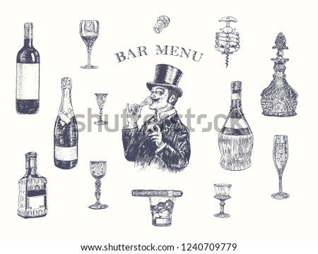 Gentleman in top hat holding a glass of alcohol drink. Hand drawn vector illustration with wine bottle, champagne, tequila, decanter, glass of whisky and cigar, stopper, stopper, corkscrew. Vintage