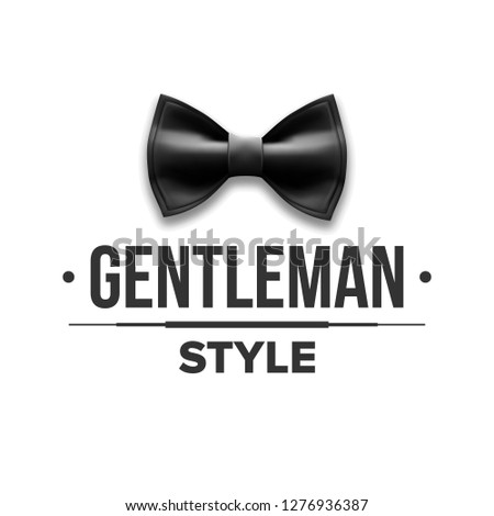 Gentleman Label Vector. Design. Victorian Fashion. Bow Tie. Realistic Illustration