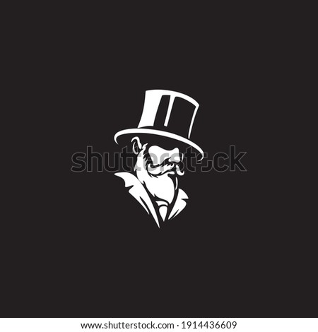Gentleman logo design. Awesome our combination man  with hat and beard logo. A gentleman logotype. Foto stock ©