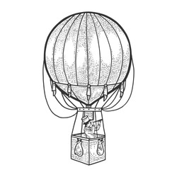 Gentleman looks in telescope in basket of air balloon. Vintage aerostat transport sketch vector illustration. Tee shirt apparel print design. Scratch board engraving style imitation.