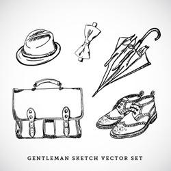 Gentleman sketch vector set
