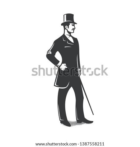 gentleman standing vintage vector design Foto stock ©