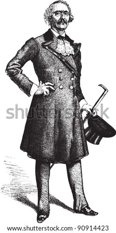 "Gentleman - Vintage illustration / illustration from book ""La petite soeur par Hector Malot"" 1882, France - stock vector"