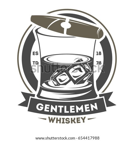 Gentleman vintage isolated label with cigar and glass of whiskey. Man club badge, pub or bar symbol vector illustration in monochrome style