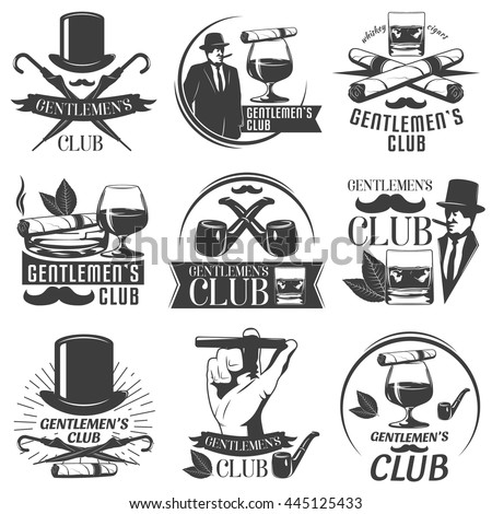 Gentlemen club label set with descriptions of club for men whiskey cigars and relax vector illustration