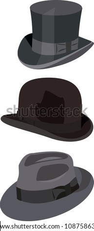gentlemen hats vector illustration isolated on white background