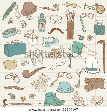 Gentlemen's Accessories doodle collection - hand drawn in vector - stock vector