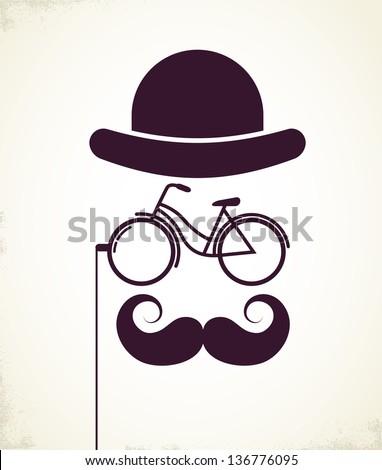Gentlemen with Bicycle eyeglass - vintage style poster