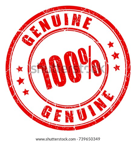 Genuine 100 hundred percent red round stamp on white background Foto stock ©