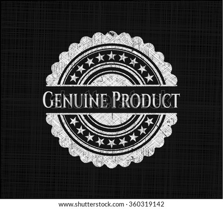 Genuine Product chalkboard emblem on black board