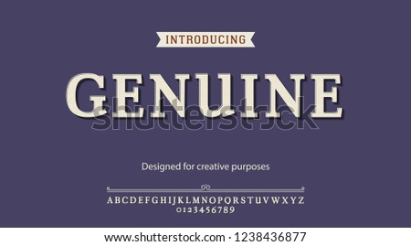 Genuine typeface.For labels and different type designs