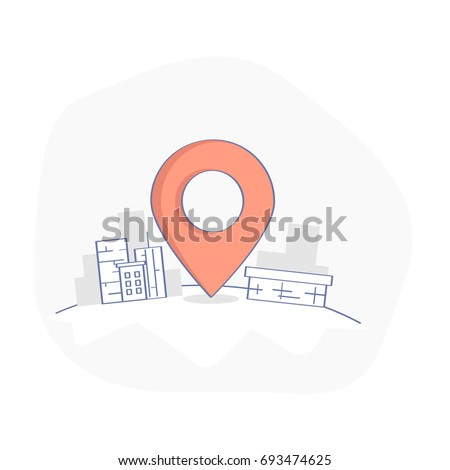Geo map Pin, Delivery service or GPS location vector concept. Geo Point marker surrounded by urban buildings. Business or transportation illustration, clean flat line cartoon UX UI design element.