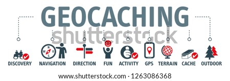 Geocaching concept. Vector Illustration of discovery, navigation and outdoor activity