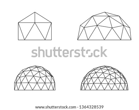 Geodesic domes vector illustration