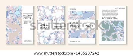 Geographic Map Fluid Paint Vector Cover. Water Ecology Blue Winter Report. Retro Earth Day Ecology Poster. Futuristic Folder, Grunge Book Page Template. Geographic Map Fluid Oil Cover