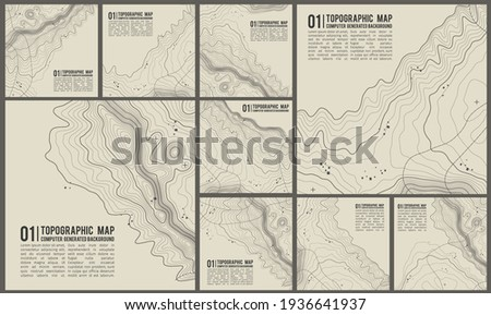 Geographic mountain topography vector illustration. Map on land vector terrain. Elevation graphic contour height lines. Сток-фото ©