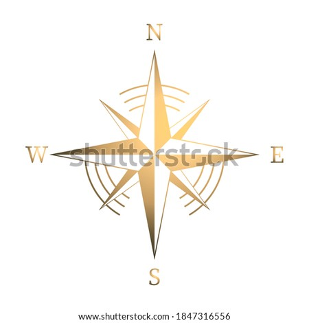 Geographic scientific compass vector icon. Compass wind rose icon in flat style. Compass vector icon in gold color. Vector illustration. Icon isolated.