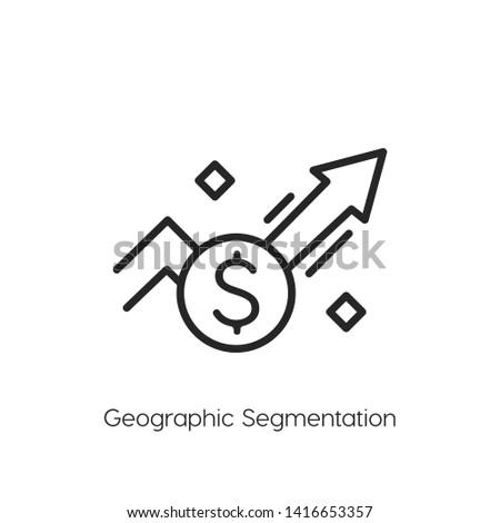 Geographic segmentation icon vector symbol