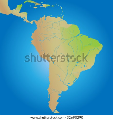 Geographical map of continent of South America